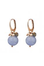 Orecchini calcedonio, perle coltivate, labradorite