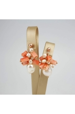 Orecchini grappolo perle coltivate, corallo rosa