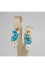 Orecchini a grappolo turchese Arizona perle coltivate