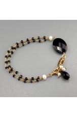 Bracciale  spinello nero, perle coltivate, agata nera