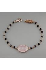 Bracciale spinello nero, quarzo rosa