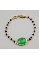 Bracciale spinello nero, quarzo verde crisopaz