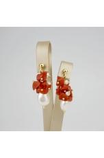 Orecchini a grappolo perle coltivate, corallo rosso