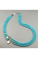 Chanel pasta turchese 6 mm, turchese Arizona, perle coltivate