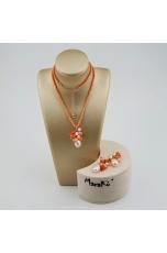 Parure corallo bamboo rosa,  perle coltivate, corallo rosa