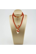 Collier bamboo rosso, perle  coltivate, corallo sardo
