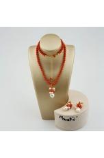 Parure corallo bamboo rosso,  perle coltivate, corallo rosso