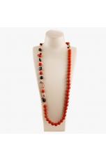Collana scomponibile, pasta corallo  rosso, agata nera