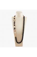 Collana scomponibile, agata nera, perle coltivate