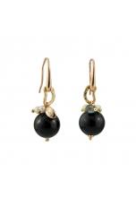 Orecchini Diseguali agata nera, labradorite, perle coltivate