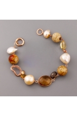 Bracciale perle coltivate, diaspro brown