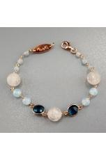BR giada celeste,cristallo di rocca satinato, quarzo blue light