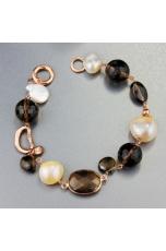 Bracciale perle coltivate,  quarzo fumè