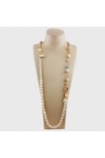 Collana scomponibile perle coltivate, acquamarina, opale rosa