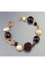 Bracciale perle coltivate, granato taglio diamond