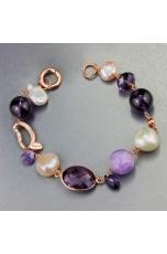 Bracciale perle coltivate, ametista
