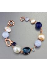 Bracciale perle coltivate,  calcedonio, agata blu