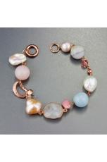 Bracciale perle coltivate,  acquamarina milk, opale rosa