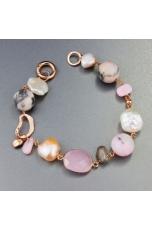 Bracciale perle coltivate, opale rosa