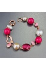 Bracciale perle coltivate,  opale e giada  rosa