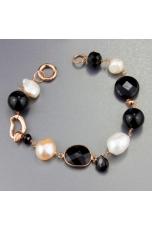 Bracciale perle coltivate, agata nera
