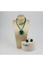 Parure Cuore Agata verde smeraldo