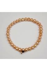 Bracciale perle coltivate 6 mm rosa pesca