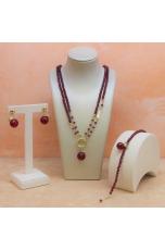 Parure Agata rubino  perle coltivate