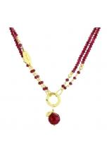 Collana agata ruby, Regolabile 45-90-cm