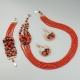 Parure corallo bamboo rosso e decoro laterale in corallo sardo