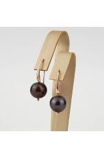 Orecchini perla nera coltivata in acqua dolce