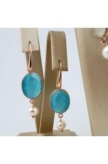 Orecchini giada tiffany,  perle coltivate