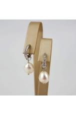 Orecchini cerchi zirconi, perle coltivate