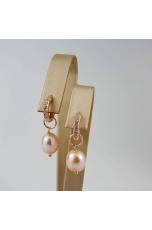 Orecchini cerchietto zirconi,  perle coltivate rosa