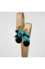 Orecchini turchese Arizona, agata nera
