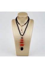 Collier con pendente corallo rosso sardo, agata nera