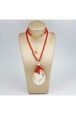 Collier bamboo rosso,  cammeo e corallo rosso
