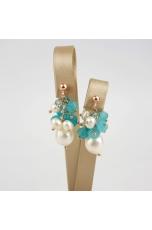 Orecchini grappolo perle coltivate, giada verde acqua