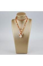 Collier Corniola, labradorite, perle coltivate
