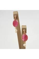 Orecchini quarzi  idrotermali rosa,  perle  coltivate