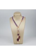 Chanel regolabile 45-90 cm ametista, perle coltivate, quarzi idrotermali