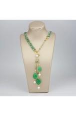 Chanel regolabile 45-90 cm crisoprasio  perle coltivate