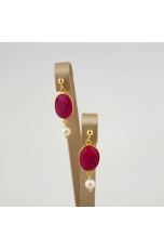 Orecchini Giada rosa,  perle  coltivate