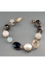 Br quarzo grigio, cristallo di rocca giada celeste,perla barocca