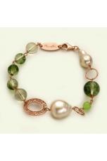 Bracciale Quarzo verde muschiato, perle coltivate