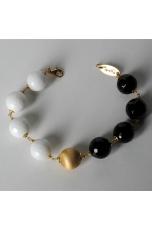 Bracciale  bicolore-agata bianca e agata  nera