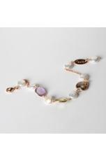 Bracciale  castoni pietre dure, perle di fiume