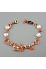 Bracciale  charms, perle acqua dolce, corallo rosa