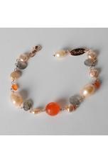 Bracciale  perle di fiume,agata arancione, labradorite