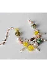 Bracciale a  2 fili, agata gialla, agata web verde, perle di fiume